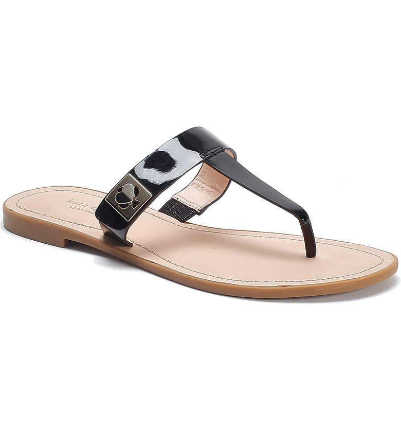 KATE SPADE NEW YORK cyprus sandal, Main, color, BLACK LEATHER