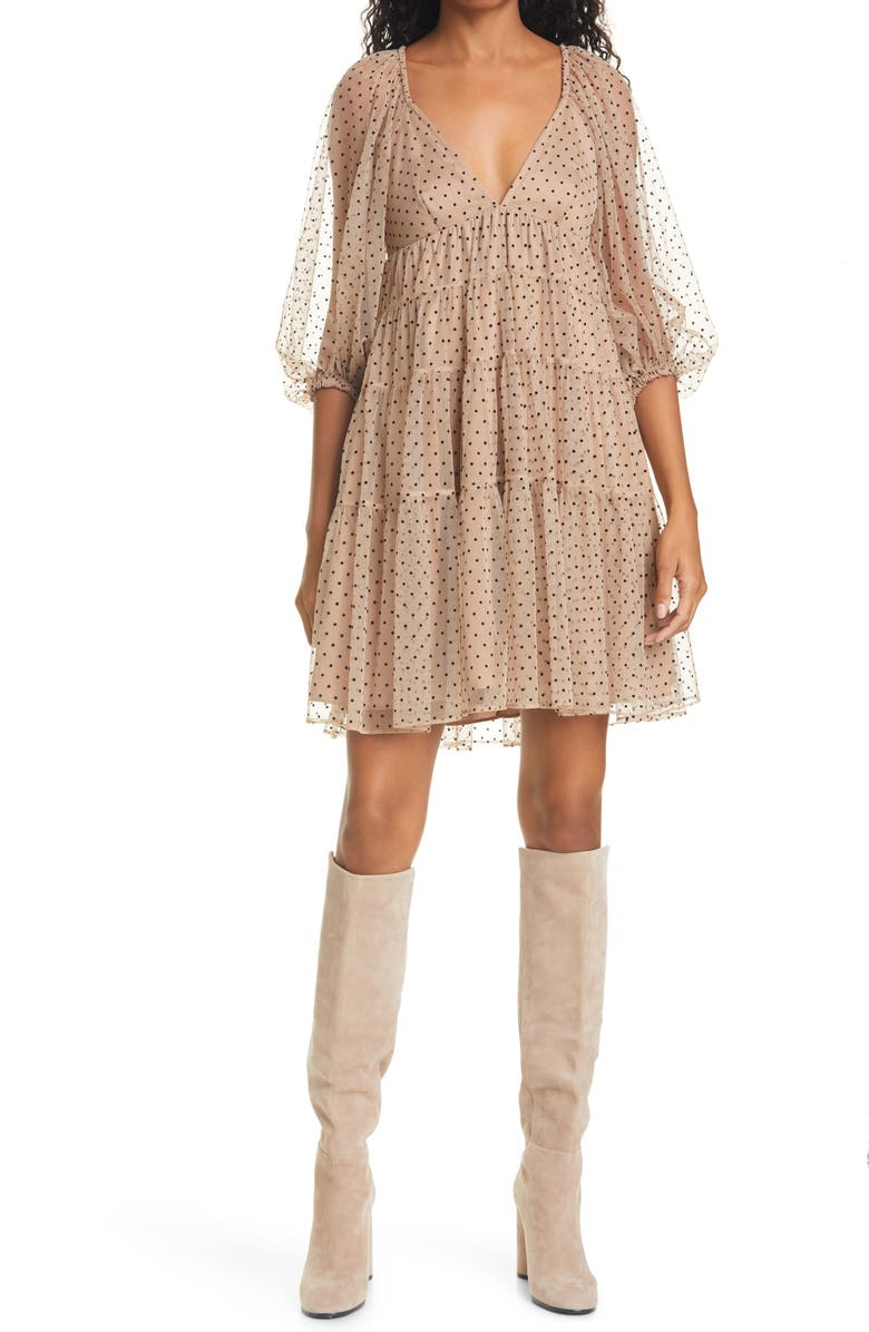 STAUD Meadow Dot Minidress, Main, color, NUDE/ BLACK DOT