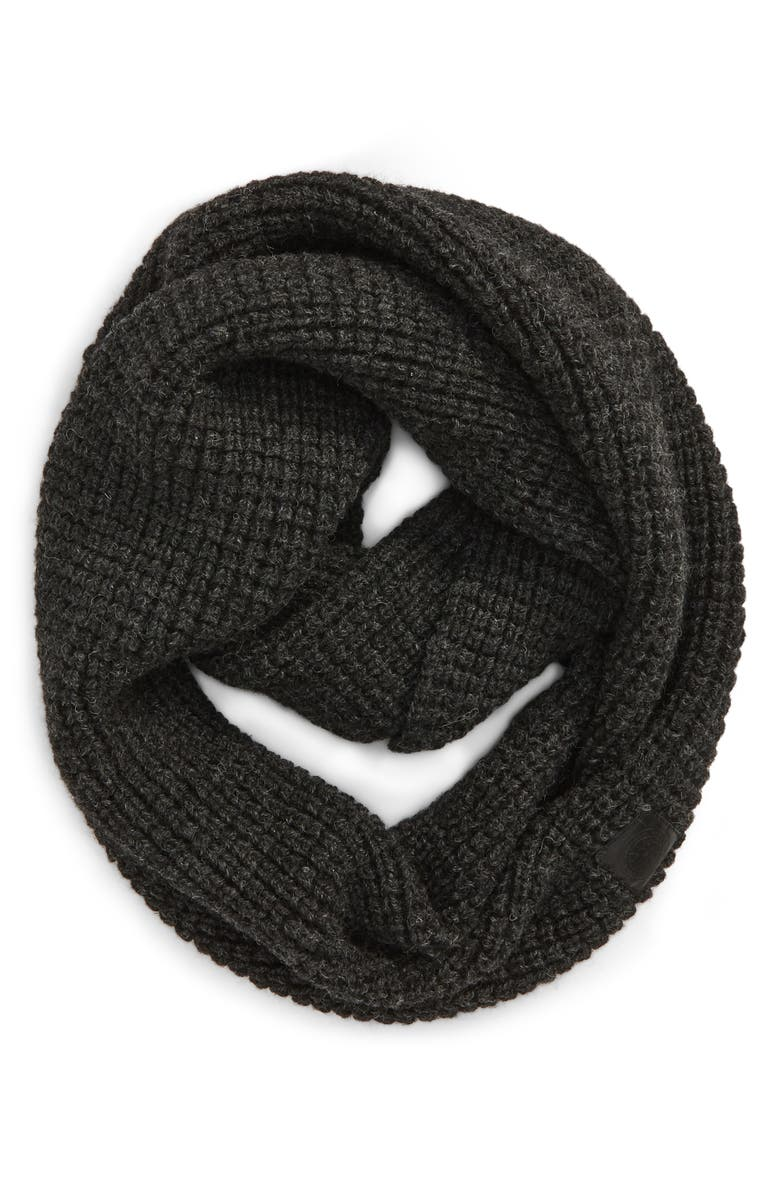 CANADA GOOSE Waffle Stitch Wool Infinity Scarf, Main, color, 020