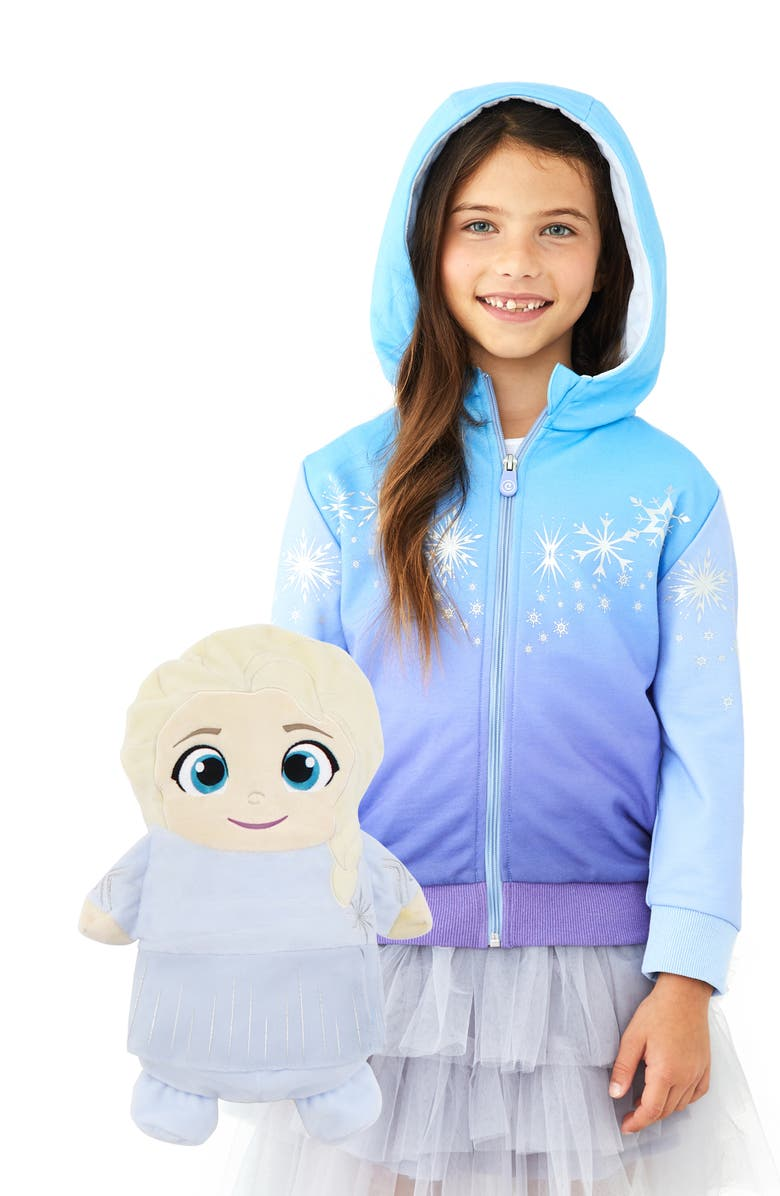 CUBCOATS x Disney<sup>®</sup> Frozen<sup>™</sup> Elsa 2-in-1 Stuffed Animal Hoodie, Main, color, BLUE MIX