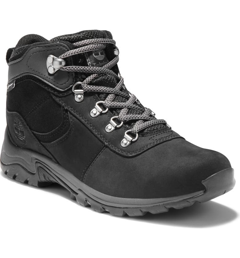 TIMBERLAND Mt. Maddsen Waterproof Hiking Boot, Main, color, BLACK FULL GRAIN LEATHER