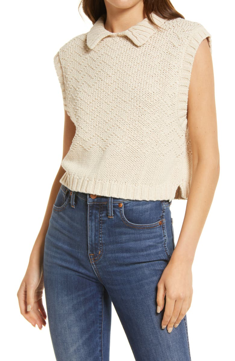 FREE PEOPLE Winding Road Crop Sweater Tank, Main, color, NATURAL