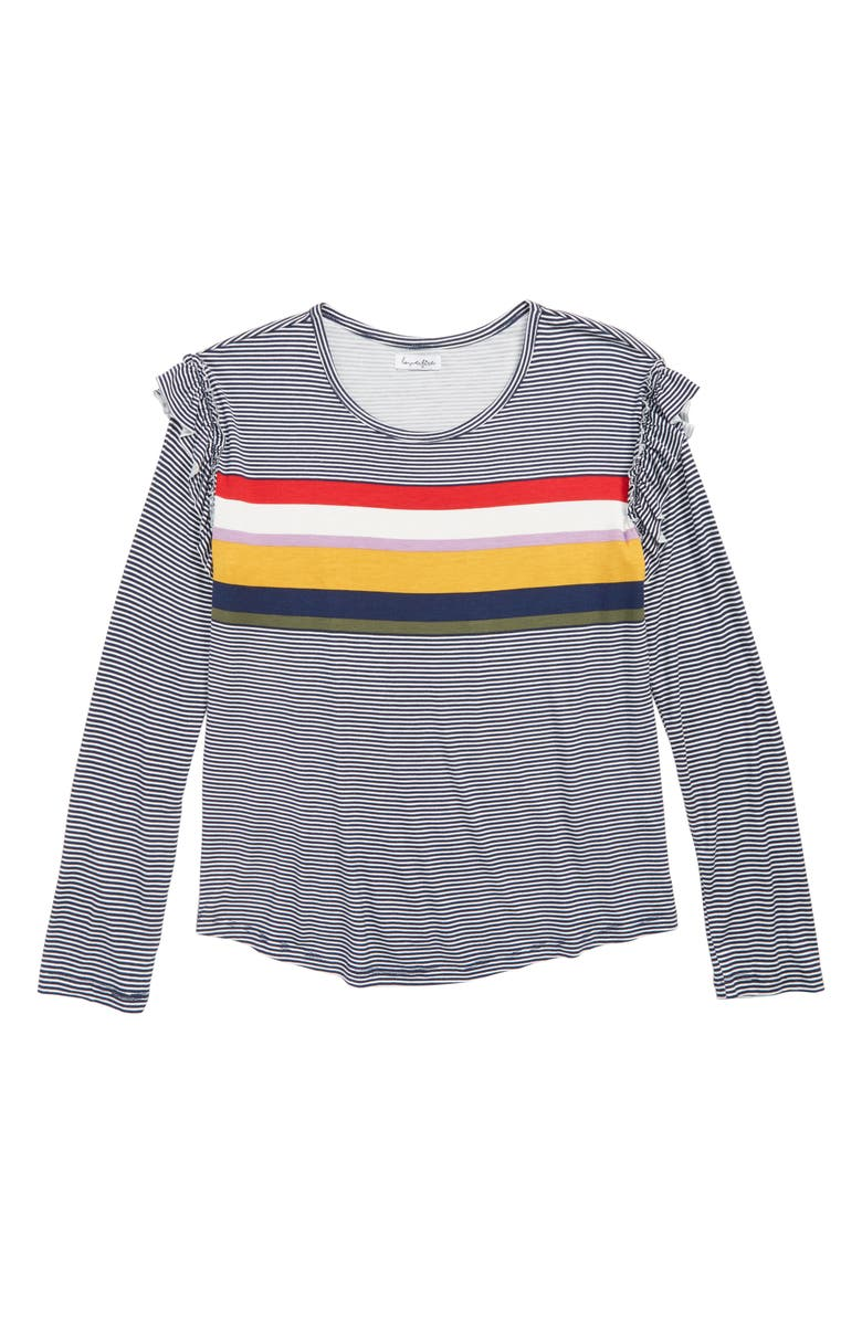 LOVE, FIRE Stripe Ruffle Shoulder Tee, Main, color, 410