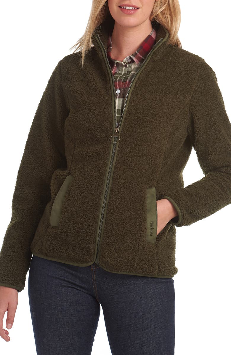 BARBOUR Millhouse Fleece Jacket, Main, color, OLIVE/ WINTER BLACKBERRY
