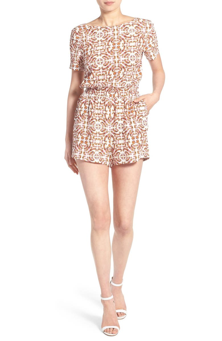 CUPCAKES AND CASHMERE 'Cameron' Mosaic Print Romper, Main, color, 235