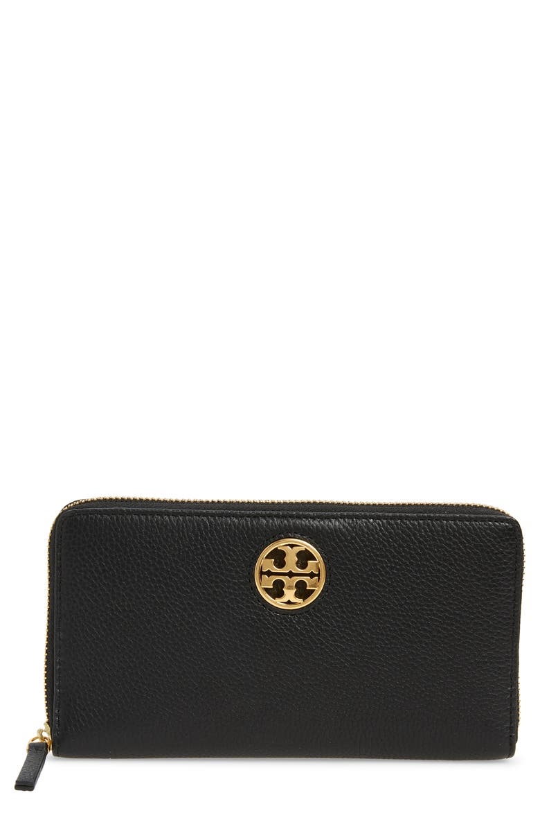 TORY BURCH Carson Zip Leather Continental Wallet, Main, color, 001