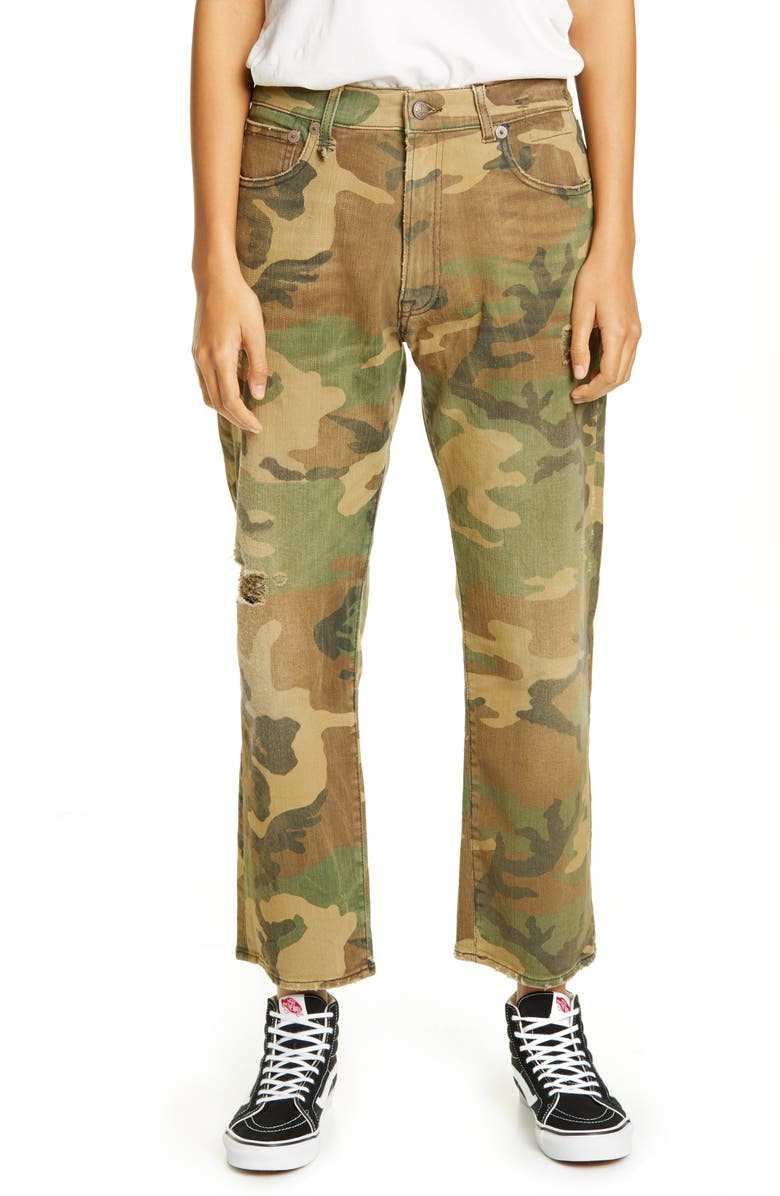 R13 Camo Print Boyfriend Jeans, Main, color, 300