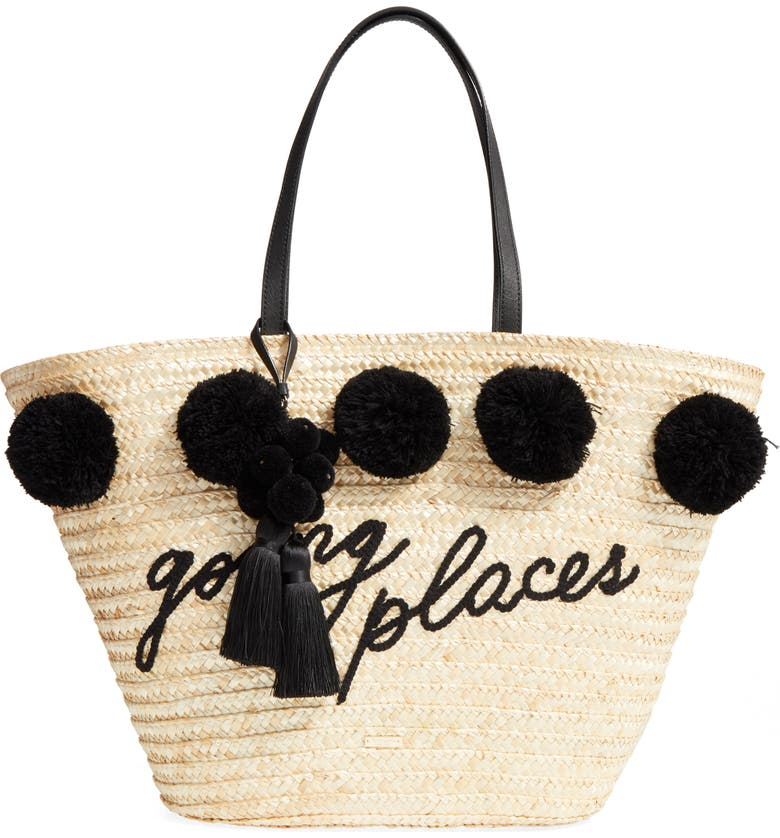KATE SPADE NEW YORK lewis way pompom tote, Main, color, 001