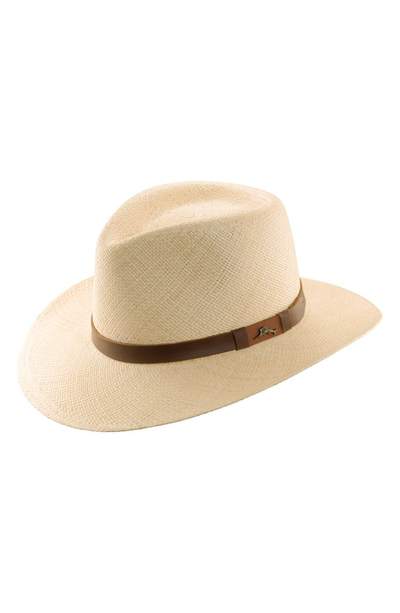 TOMMY BAHAMA Panama Straw Outback Hat, Main, color, NATURAL