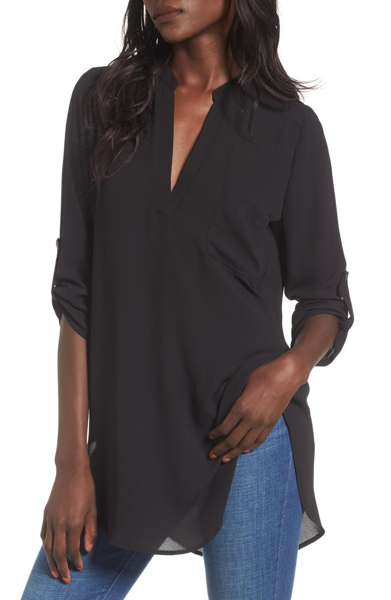ALL IN FAVOR Perfect Henley Tunic, Main, color, NO_COLOR