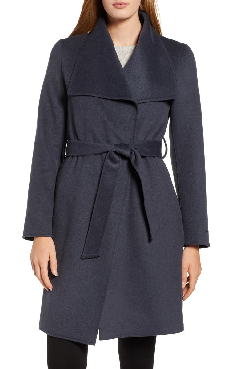 TAHARI Ellie Double Face Wool Blend Wrap Coat, Main, color, 020