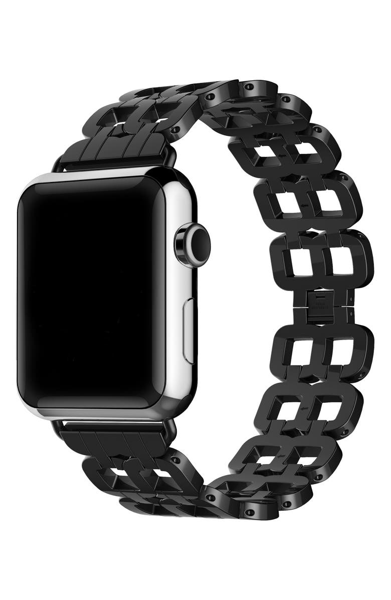 THE POSH TECH Stainless Steel Apple Watch<sup>®</sup> Bracelet, Main, color, BLACK