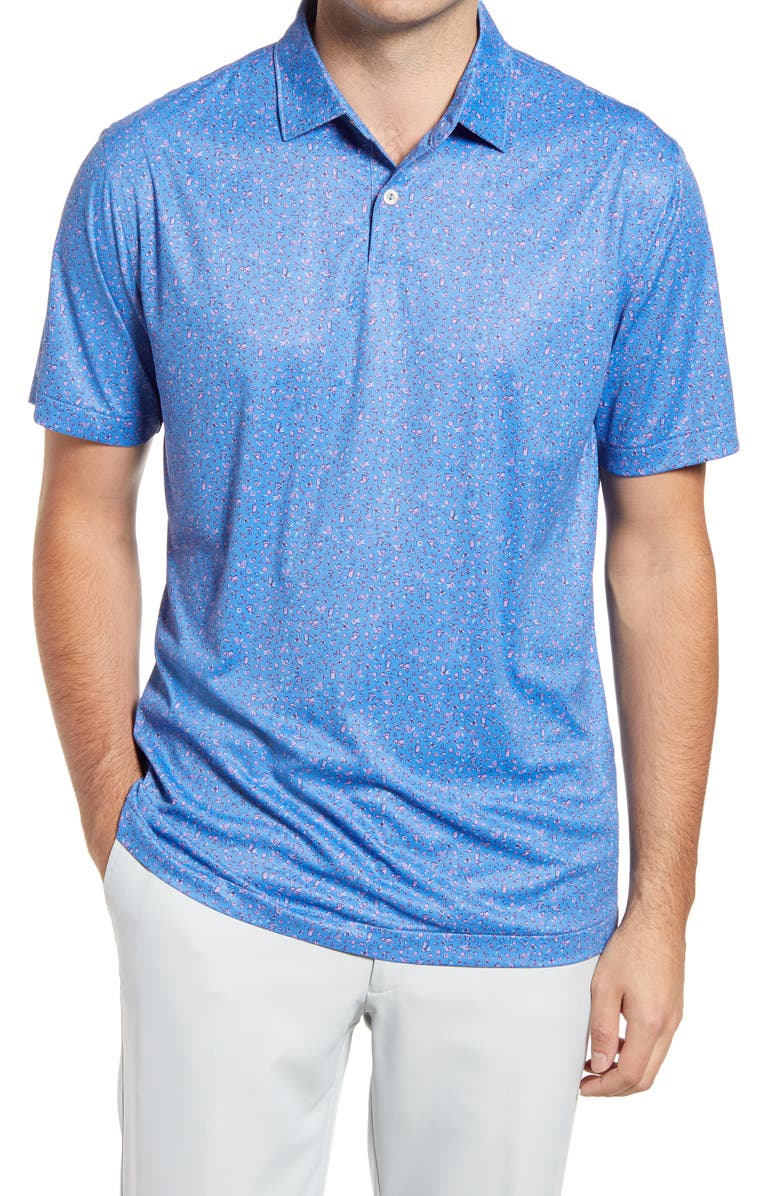 PETER MILLAR Featherweight Citrus Performance Golf Polo, Main, color, BLUE RIVER