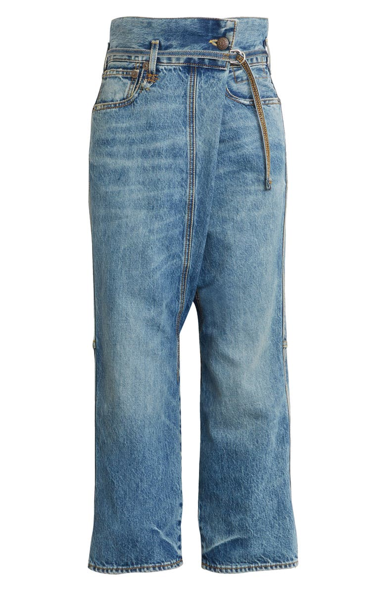 R13 Stanley Crossover Ankle Straight Leg Jeans, Main, color, BENJI BLUE