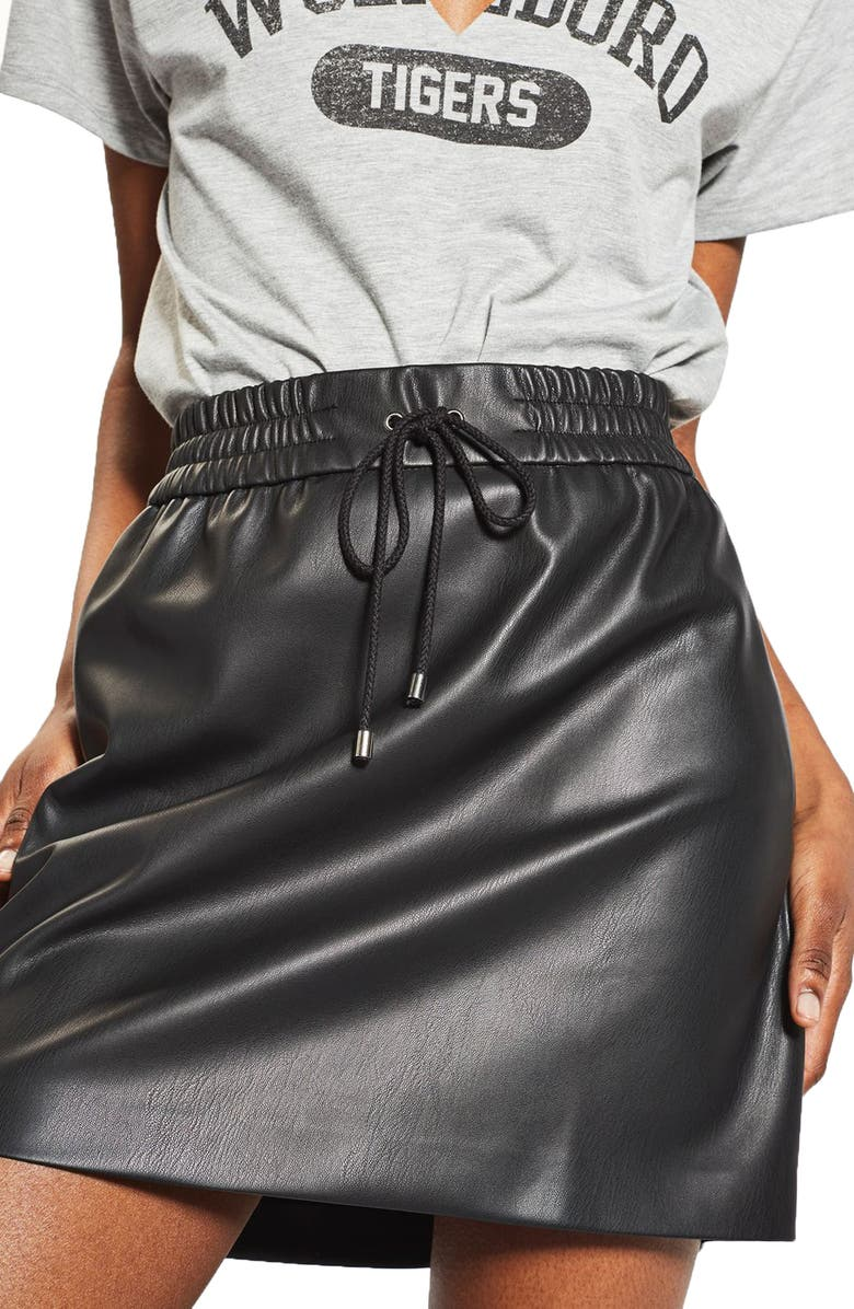 TOPSHOP Drawstring Faux Leather Skirt, Main, color, 001
