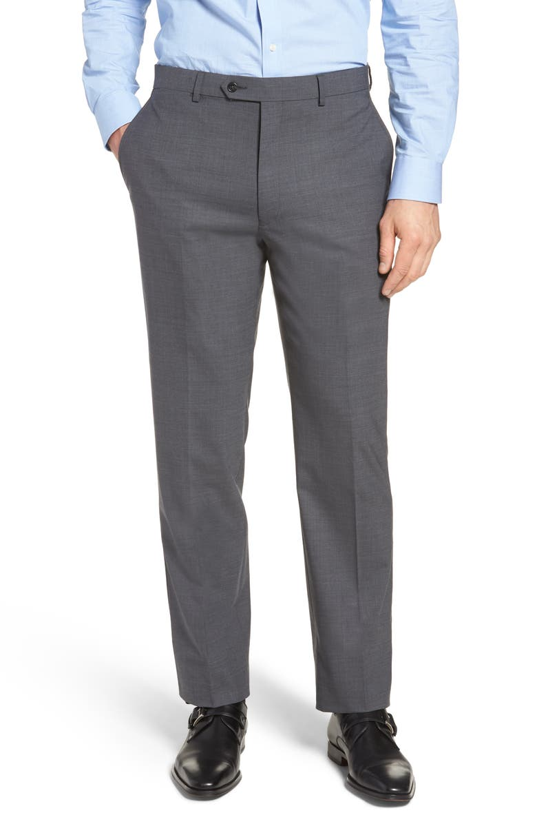 HART SCHAFFNER MARX New York Flat Front Stretch Solid Wool Trousers, Main, color, 030