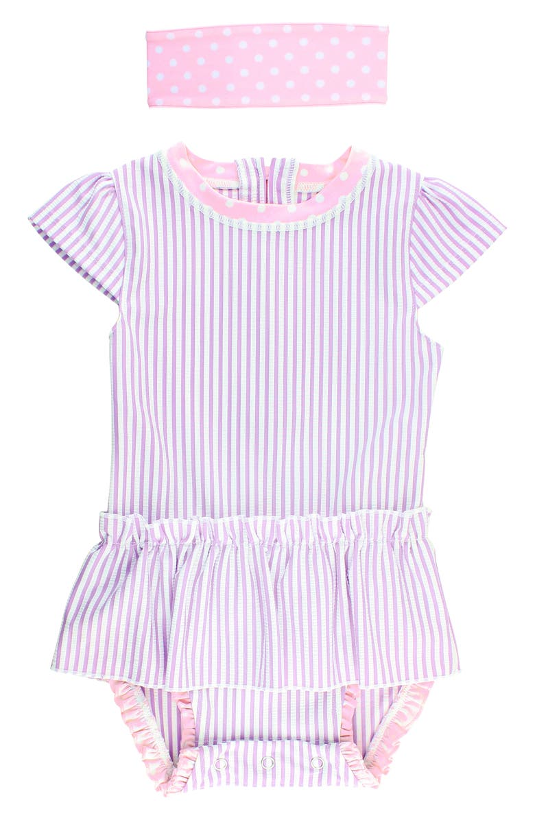 RUFFLEBUTTS One-Piece Swimsuit & Head Wrap Set, Main, color, LILAC