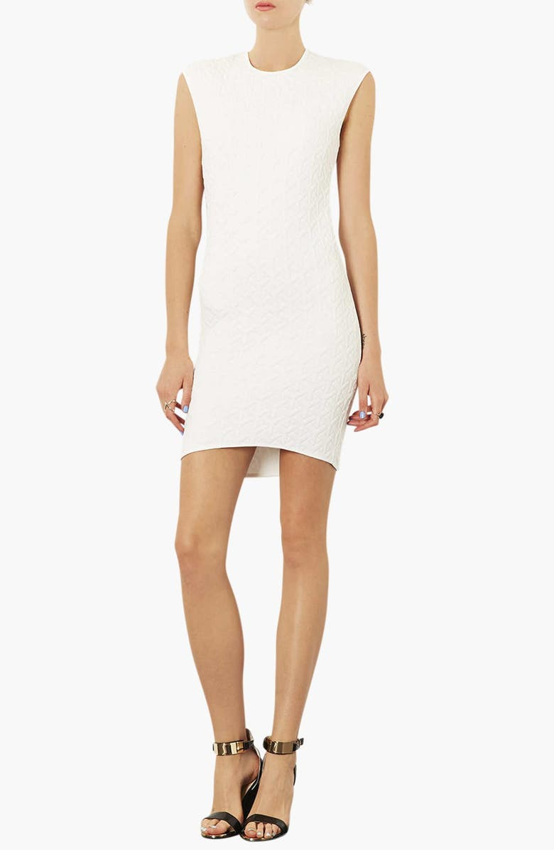 TOPSHOP Quilted Body-Con Dress, Main, color, White