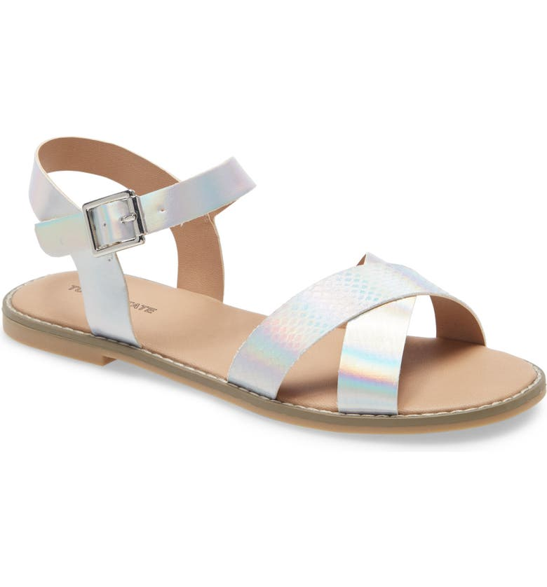 TUCKER + TATE Arya Cross Strap Sandal, Main, color, SILVER FAUX LEATHER