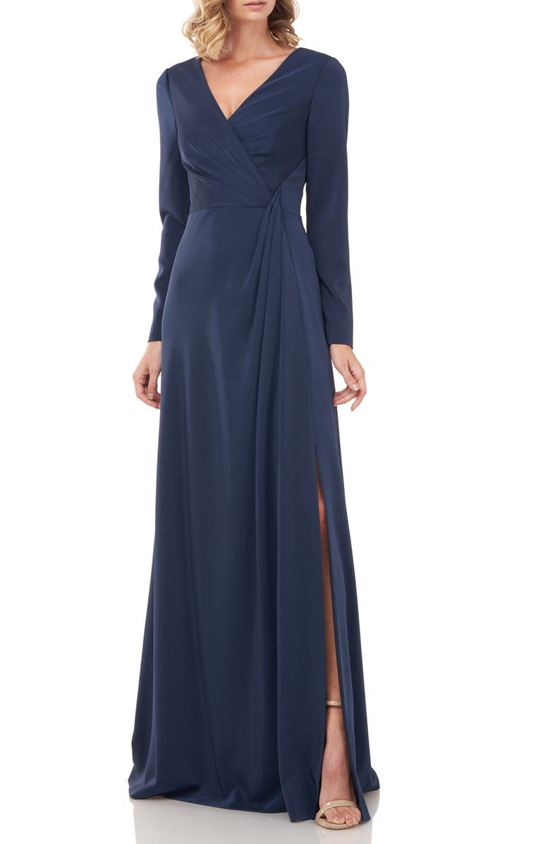 KAY UNGER Adelina Long Sleeve Evening Gown, Main, color, PRUSSIAN BLUE