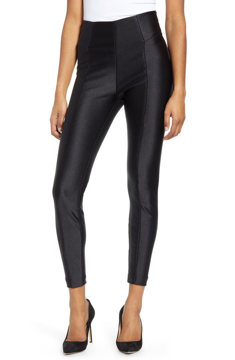 GOOD AMERICAN Boss High Shine Pants, Main, color, BLACK