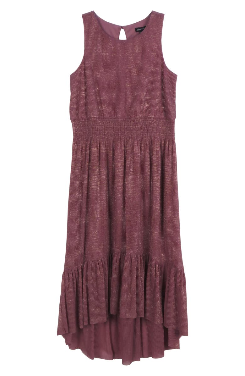 ZUNIE Kids' High/Low Shimmering Maxi Dress, Main, color, DUSTY ROSE