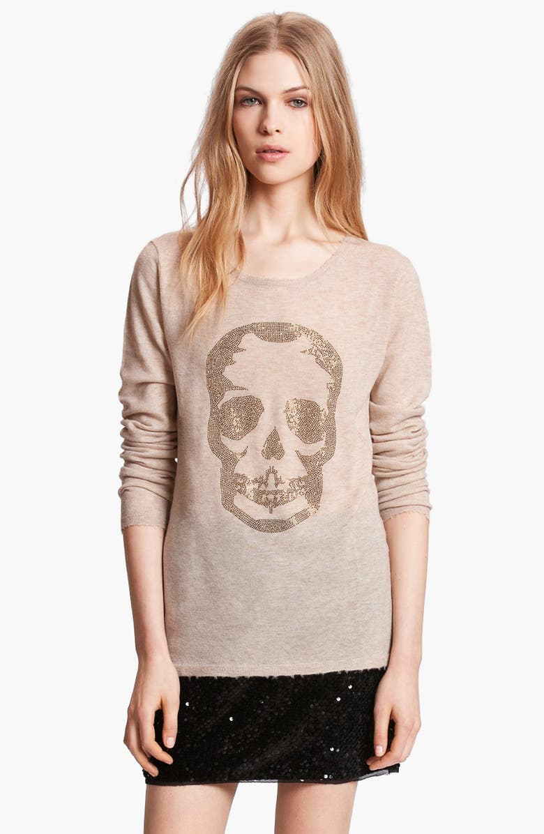 ZADIG & VOLTAIRE 'Miss Bis' Skull Embellished Sweater, Main, color, FICELLE