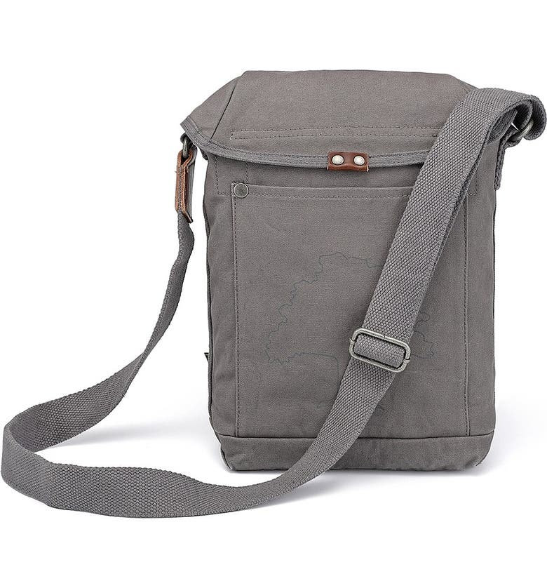 THE SAME DIRECTION Forest Flap Canvas Crossbody Bag, Main, color, GREY