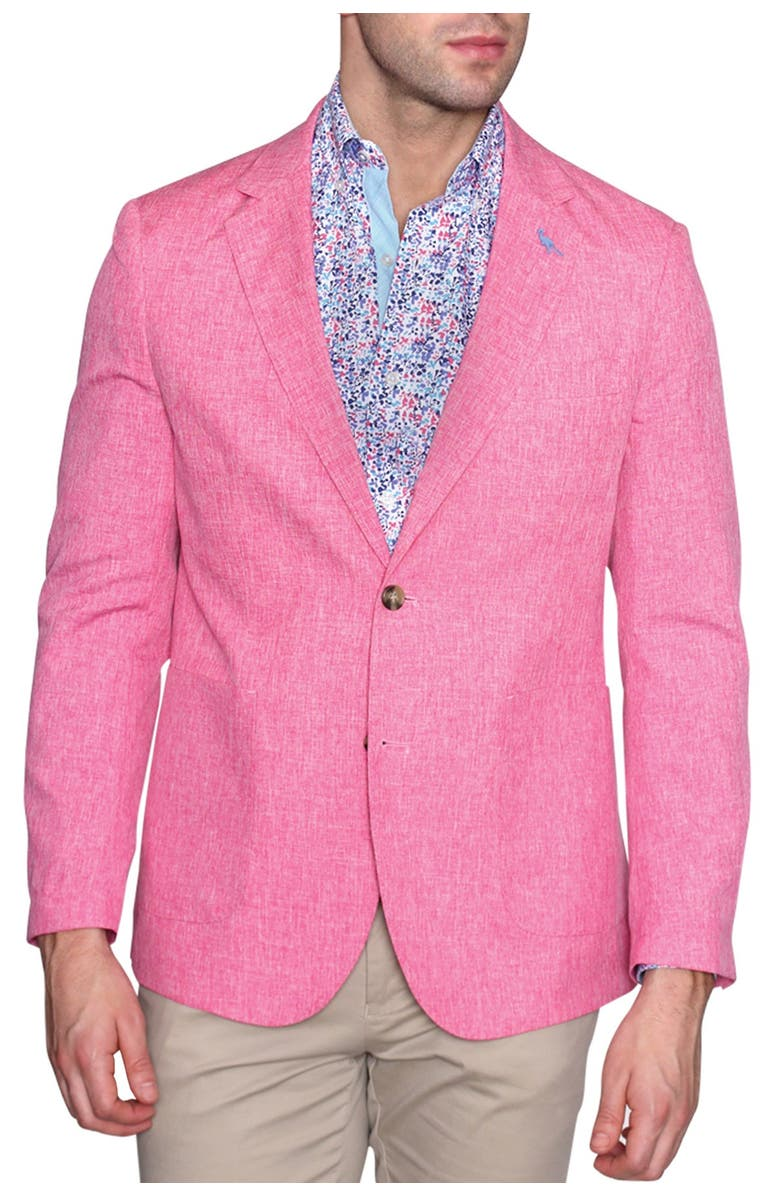 TAILORBYRD Solid Stretch Performance Two Button Notch Lapel Modern Fit Sport Coat, Main, color, PINK