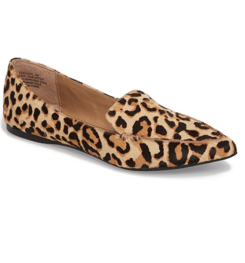 STEVE MADDEN Feather Genuine Calf Hair Loafer, Main, color, LEOPARD
