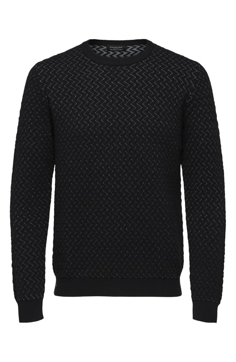 SELECTED HOMME George Crewneck Sweater, Main, color, BLACK