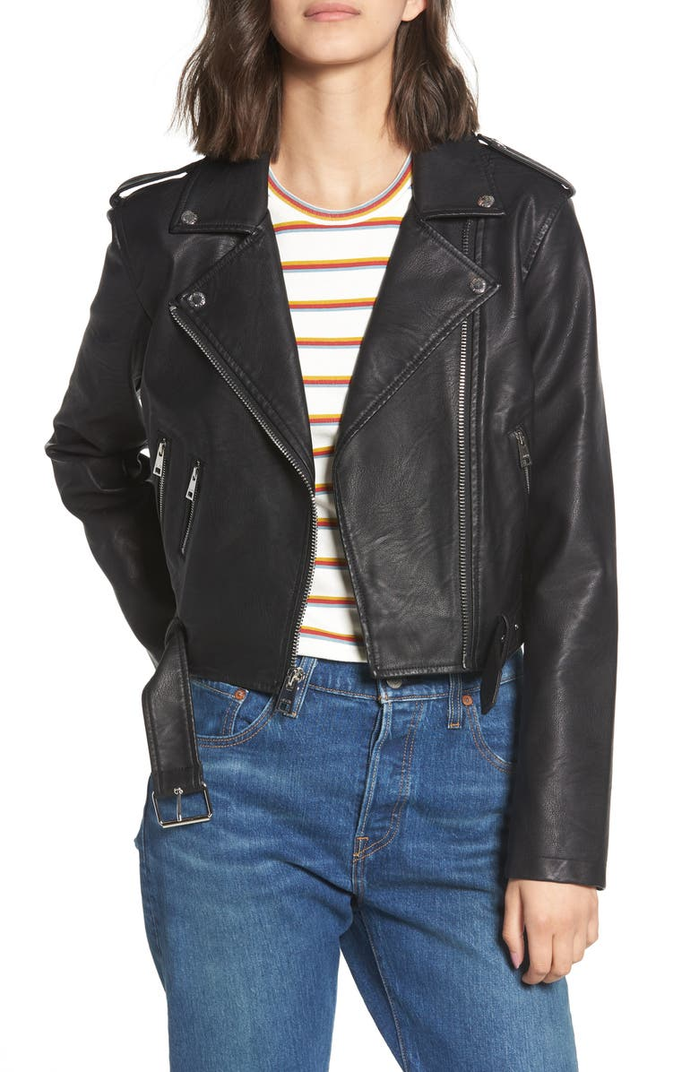 LEVI'S<SUP>®</SUP> Faux Leather Fashion Belted Moto Jacket, Main, color, BLACK
