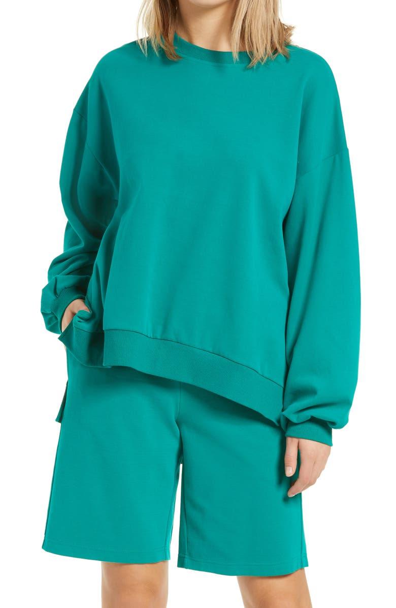 BP. Oversized Crewneck Sweatshirt, Main, color, GREEN TREKKING