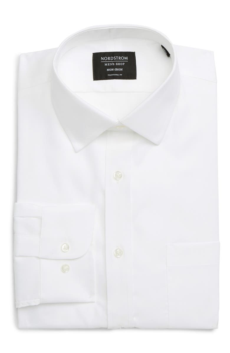 NORDSTROM Mens Shop Traditional Fit Non-Iron Dress Shirt, Main, color, WHITE BRILLIANT