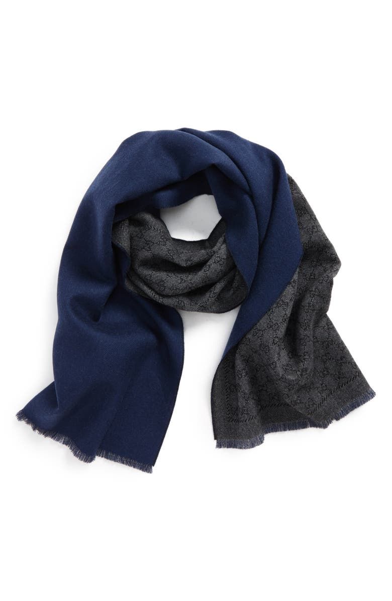 GUCCI Lonar Wool Jacquard Scarf, Main, color, ANTHRACITE/ BLUE