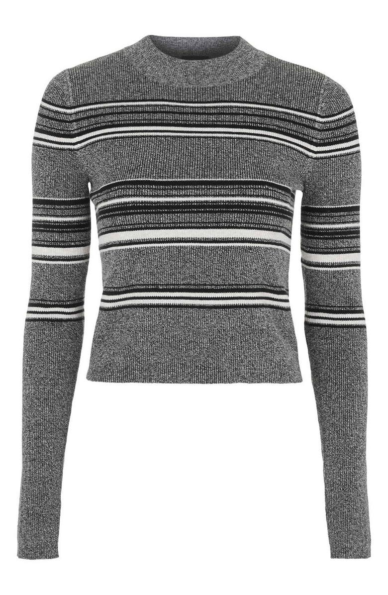 TOPSHOP Stripe Crop Sweater, Main, color, 020