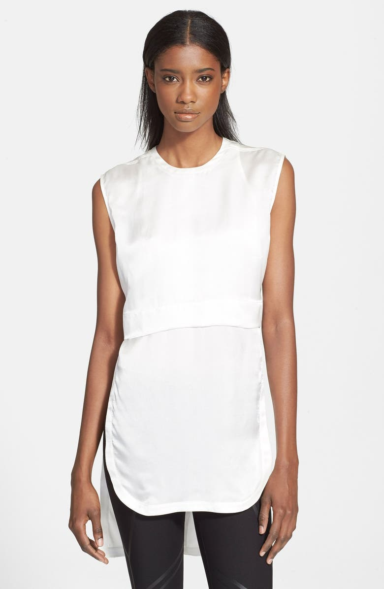 HELMUT LANG Layered High/Low Silk Top, Main, color, 100