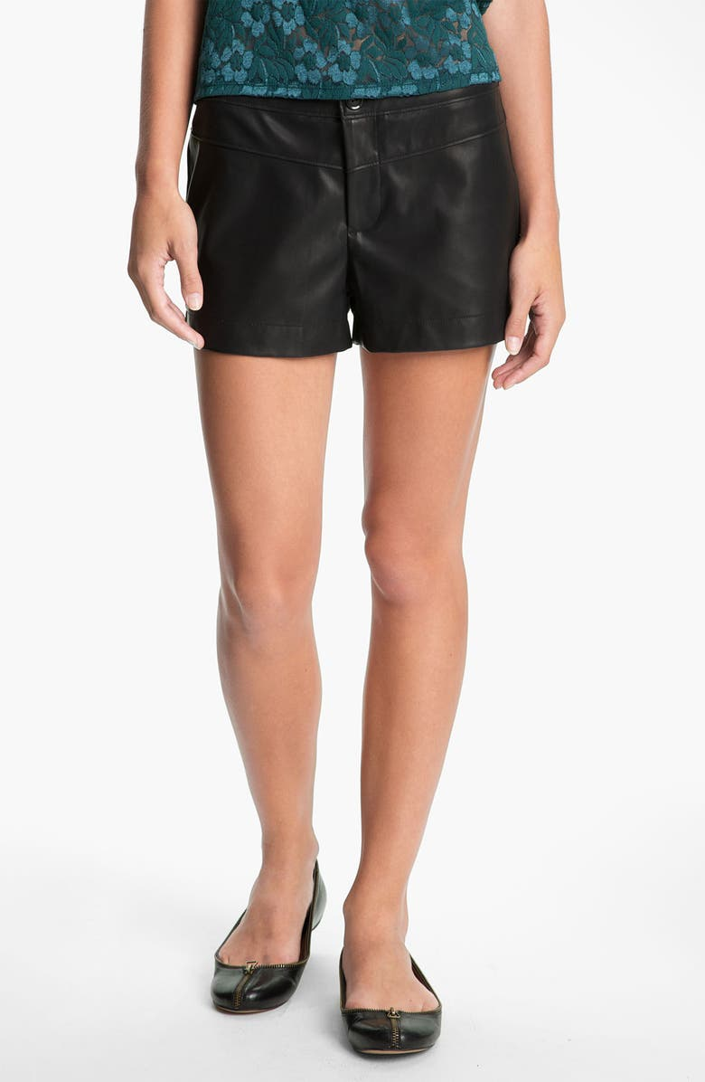LILY WHITE Faux Leather Shorts, Main, color, BLACK