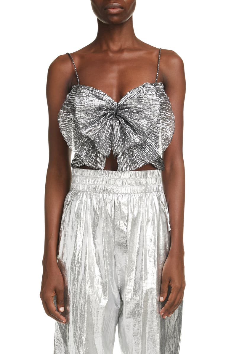 ISABEL MARANT Tresha Metallic Butterfly Crop Top, Main, color, SILVER