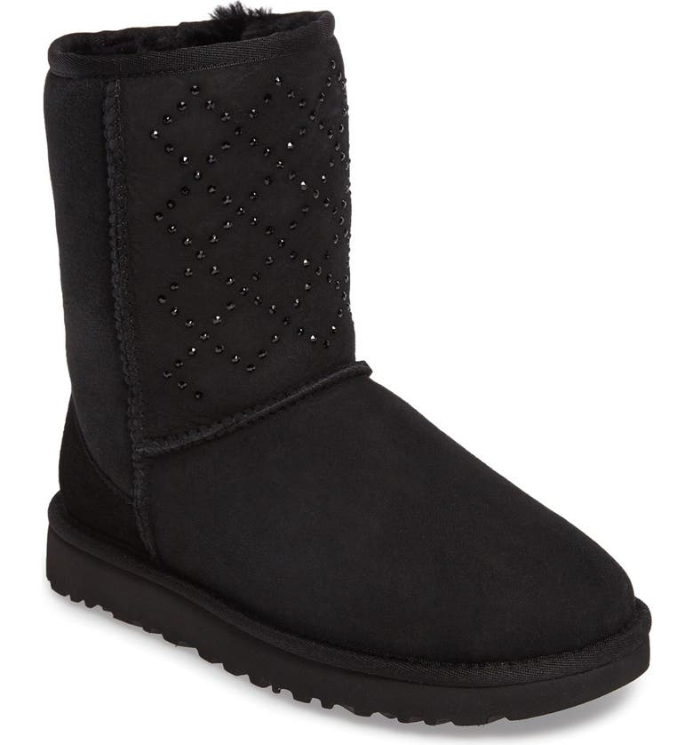 UGG<SUP>®</SUP> Classic Short - Crystal Genuine Shearling Lined Boot, Main, color, BLACK SUEDE