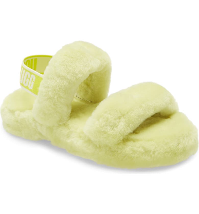 UGG<SUP>®</SUP> Oh Yeah Genuine Shearling Slingback Slipper, Main, color, SULFUR