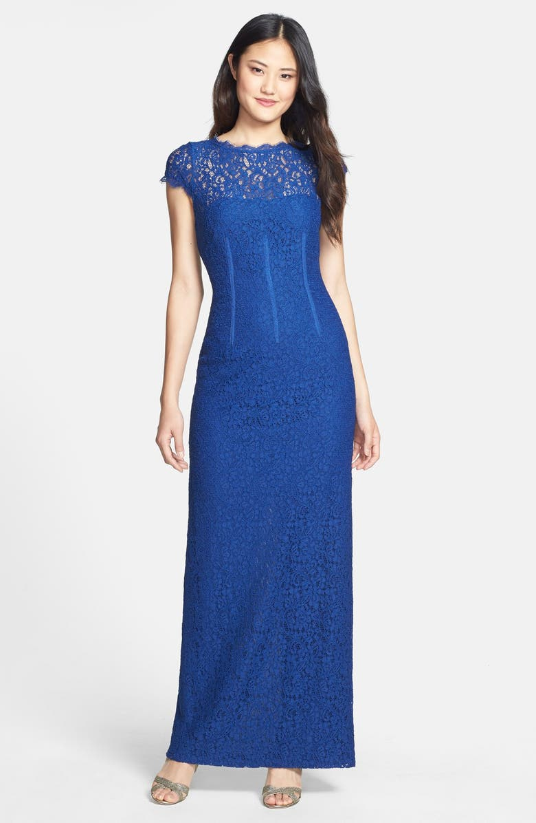 ADRIANNA PAPELL Lace Column Gown, Main, color, PRUSSIAN BLUE