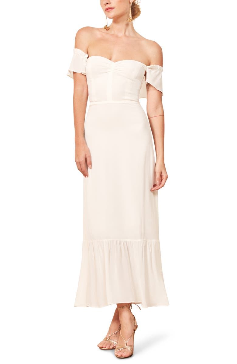 REFORMATION Butterfly Off-the-Shoulder Midi Dress, Main, color, IVORY