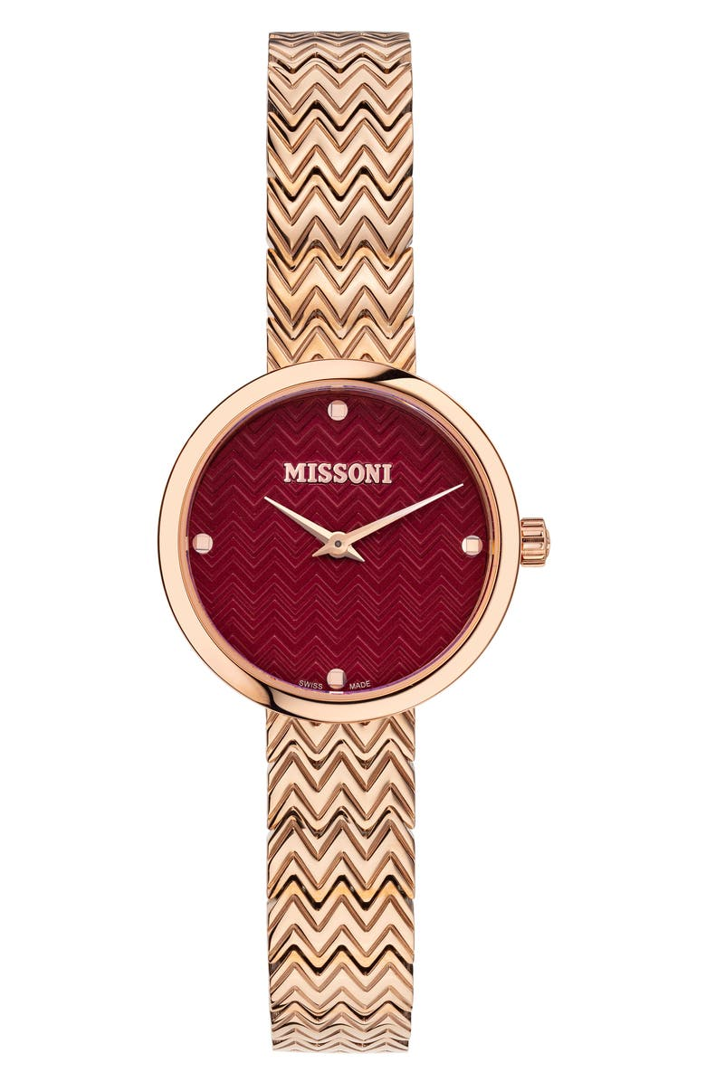 MISSONI M1 Joy Bracelet Watch, 29mm, Main, color, ROSE GOLD / RED