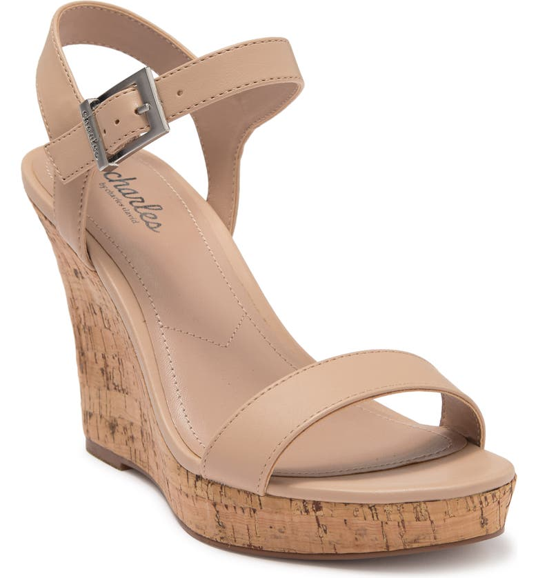 CHARLES BY CHARLES DAVID Lindy Faux Leather Wedge Sandal, Main, color, NUDE SMOOTH