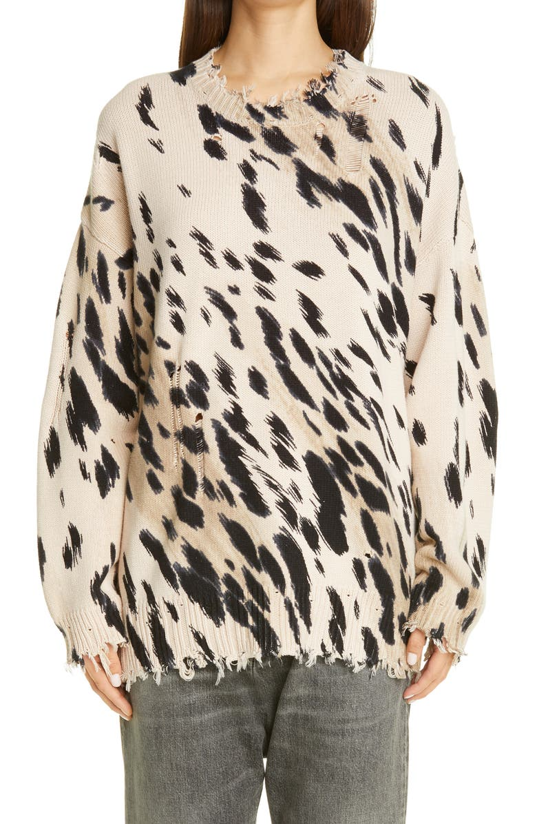 R13 Cheetah Jacquard Distressed Cotton Sweater, Main, color, 252