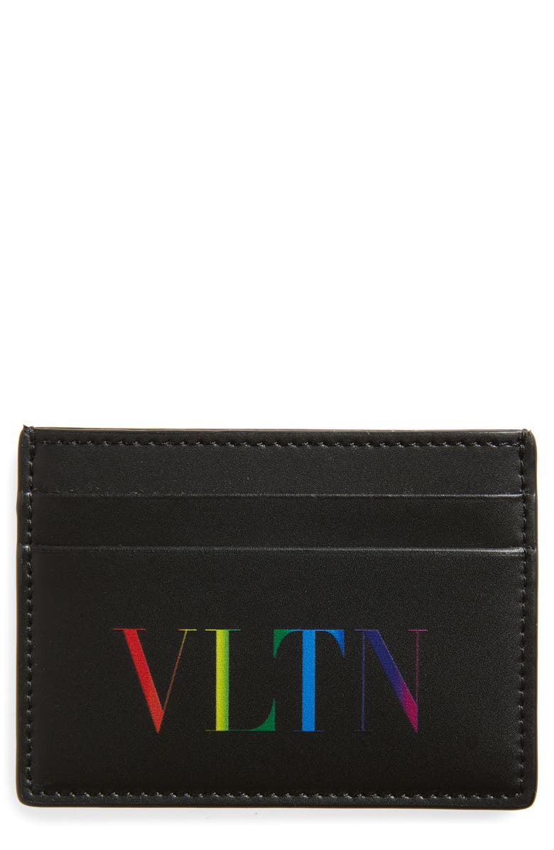 VALENTINO GARAVANI VLTN Leather Card Case, Main, color, 001