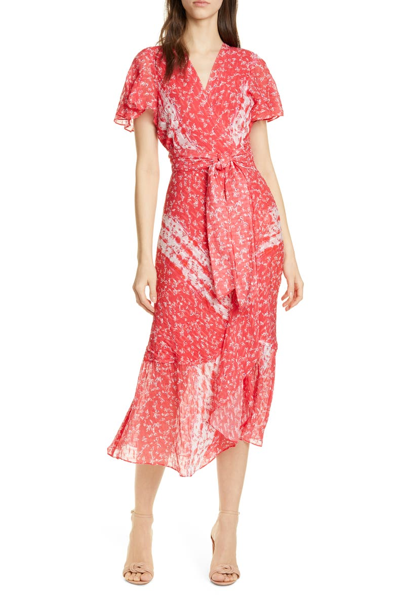 TANYA TAYLOR New Blaire Floral Silk & Cotton Dress, Main, color, DITSY FLORAL STRIPE - GUAVA