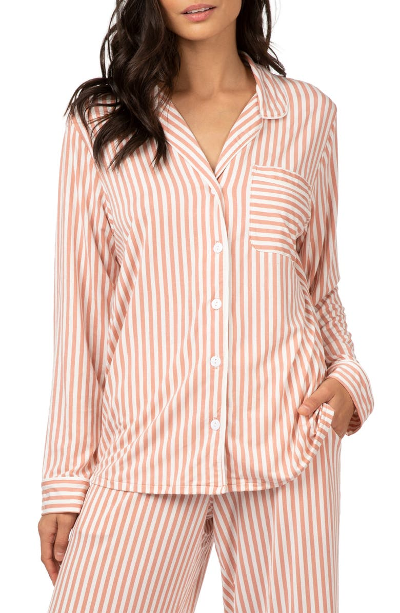 LIVELY The All Day Lounge Shirt, Main, color, MINI STRIPE SHELL PINK