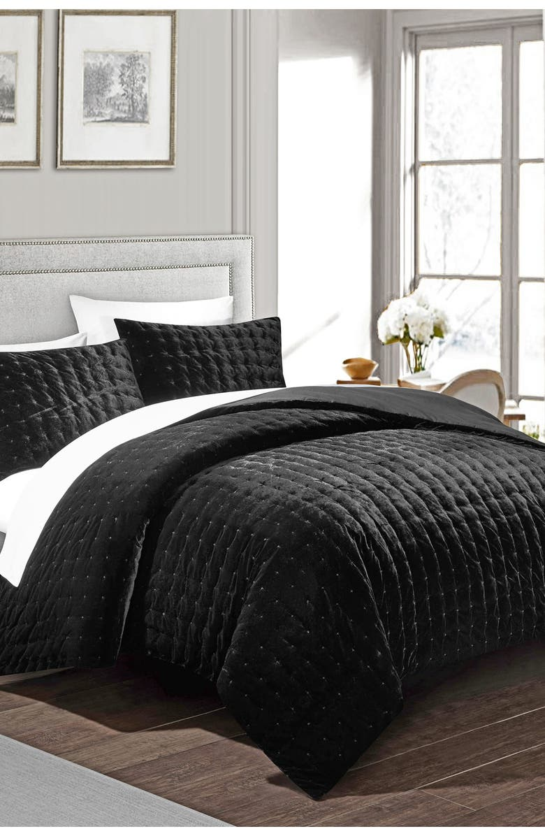 CHIC Chaya Rich Quilted Hand-Stitched Velvet Queen Comforter Set - Black, Main, color, BLACK